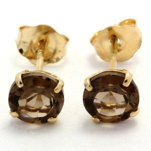 Jewelry - Solid 10K Yellow Gold Natural Smoky Quartz Studs